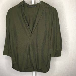 Zara Woman Green 3/4 Sleeves Blouse